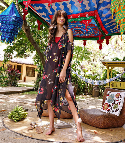 Cover-Up - Neeta Sheer Cover-Up (Black Floral)