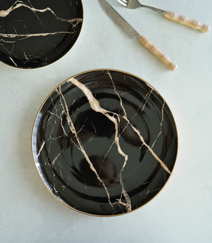 Dinnerware - Black Marble Dinner Plate And Salad Plate Set (set Of 2)