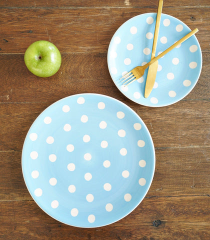 Dinnerware - Celeste Blue Polka Dinner Plate And Salad Plate Set (set Of 2)