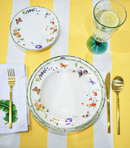 Dinnerware - Flora & Fruta Dinner Plate Set - 3 Piece Setting