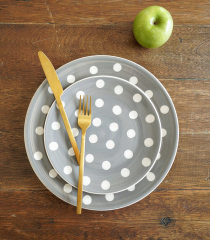 Dinnerware - Heather Gray Polka Dinner Plate And Salad Plate Set (set Of 2)