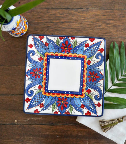Dinnerware - Moroccan Square Dinner Plate And Salad Plate Set (set Of 2)