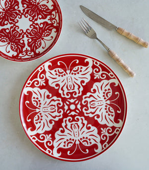 Red Butterfly Dinner plate and Salad plate set (set of 2)