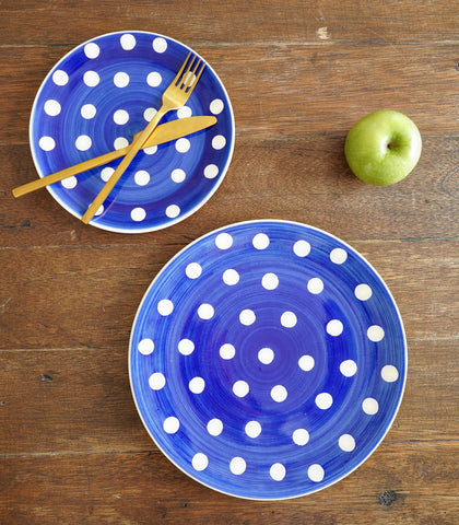 Dinnerware - Royal Blue Polka Dinner Plate And Salad Plate Set (set Of 2)