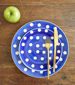 Royal Blue Polka Dinner plate and Salad plate set (set of 2)