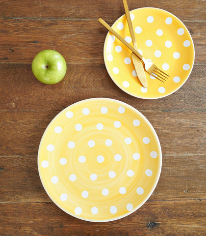 Dinnerware - Sunshine Yellow Polka Dinner Plate And Salad Plate Set (set Of 2)