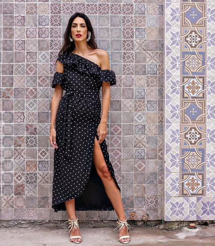 Dress - Alcuadeta Asymmetrical One-Shoulder Dress (Black Polka)