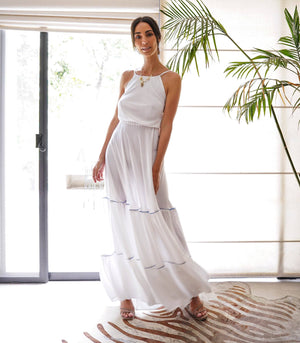 Armenia Halter Tiered Maxi Dress with a Crisscross Back (White)