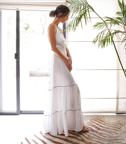 Dress - Armenia Halter Tiered Maxi Dress With A Crisscross Back (White)
