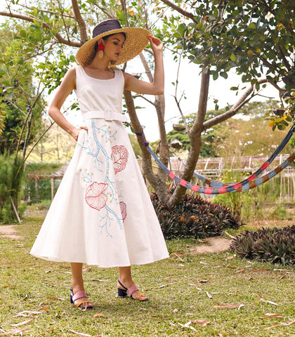 Dress - Azucar Resort Camuy Embroidered Linen Belted Sleeveless A-Line Dress