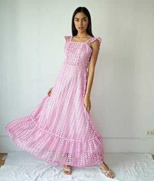 Azucar Villazon Flounce Sleeve Eyelet Tiered Maxi Dress