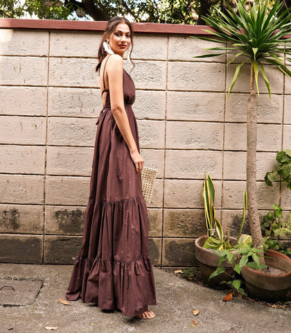 Dress - Bello Strappy Tiered Maxi Dress (Chocolate)