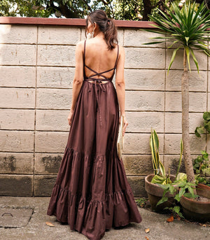Bello Strappy Tiered Maxi Dress (Chocolate)