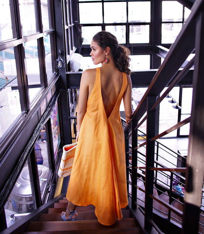 Dress - Campeche Long Back Dress (Marmalade)