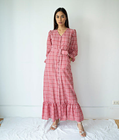 Dress - Caranavi Three-Quarter Puff-Bell Sleeve Gingham Maxi Dress