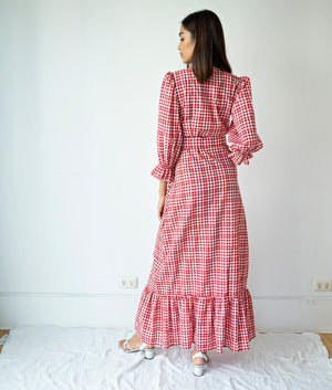 Caranavi Three-Quarter Puff-Bell Sleeve Gingham Maxi Dress