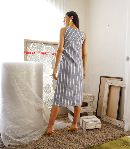 Dress - Casi Linen Striped Sleeveless Shift Dress
