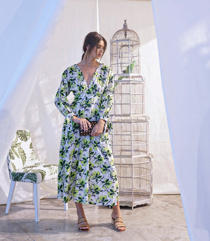 Dress - Castries Tie Back Long Sleeved Dress (Green Floral)