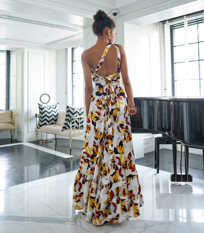 Dress - Chiclana Floral Print One Shoulder Tiered Hem Maxi Dress