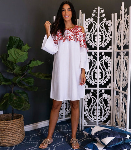 Dress - Cordoba Embroidered Shift Dress (White)