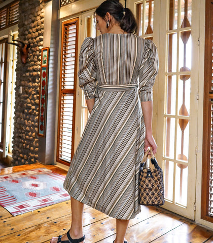 Dress - Dafni Striped Puff Sleeve Wrap Midi Dress