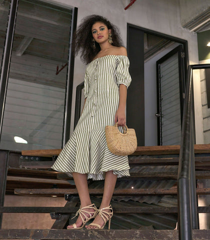 Dress - Elmina Off-the-Shoulder Striped Trumpet Dress