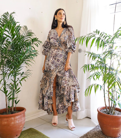 Dress - Estepona Paisley Ruffled Wrap Dress