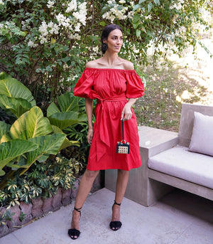 Florence Fling Freddie Off-the-Shoulder Puff Sleeve Dress with Belt Sash (Red)