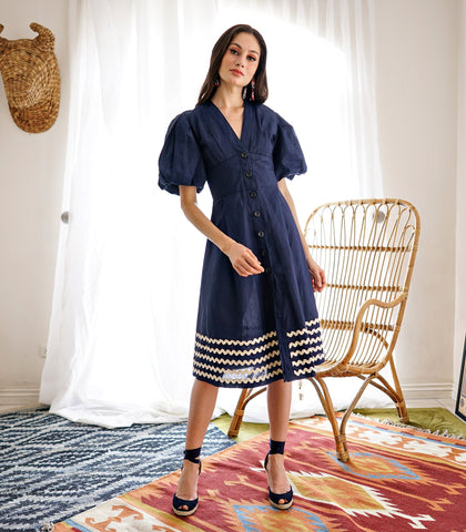 Dress - Florina Puff Sleeve Button-Down Dress With Rickrack Trim (Navy)