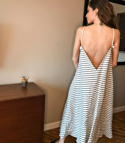 Dress - Garissa Tent Midi Dress With Rope Straps (Neutral Stripes)