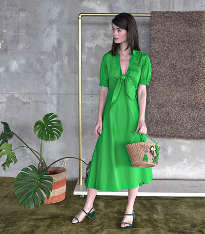 Dress - Goias Tie-Front Collared Dress (Green)