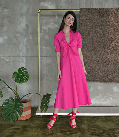 Dress - Goias Tie-Front Collared Dress (Hot Pink)