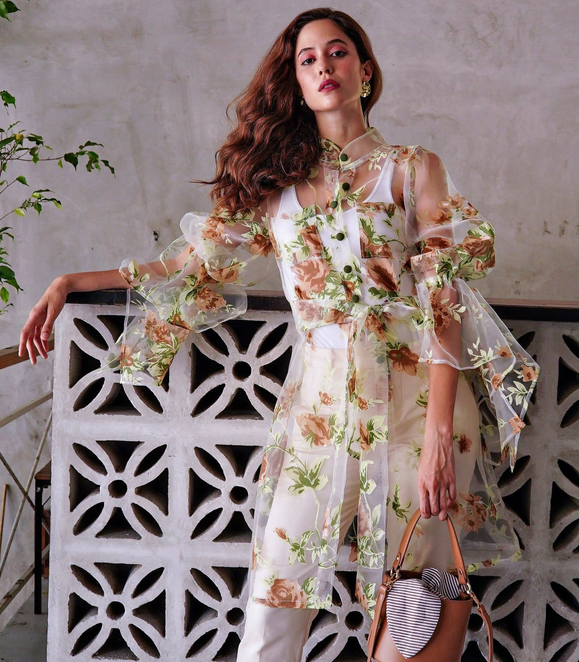 Guanica Sheer Floral Puff-Flounce Sleeve Dress with Belt Sash (Garden)