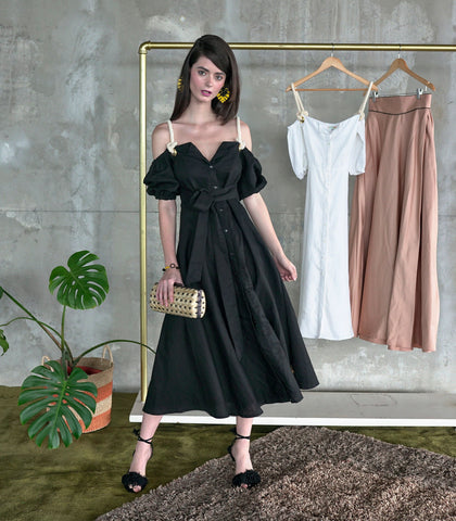 Dress - Gweru Rope Strap Linen Dress (Black)