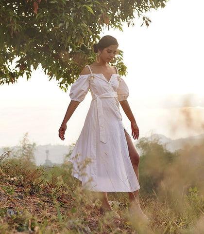 Dress - Gweru Rope Strap Linen Dress (White)