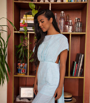 Humacao Cap Sleeve Cutout Sheath Dress with Back Sash (Pale Blue)