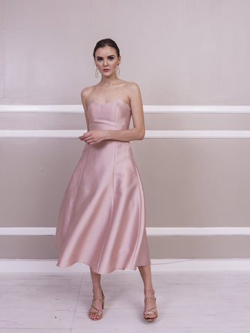 Dress - Jill Lao Samantha Strapless Midi Dress With Pearl Tulle Overlay