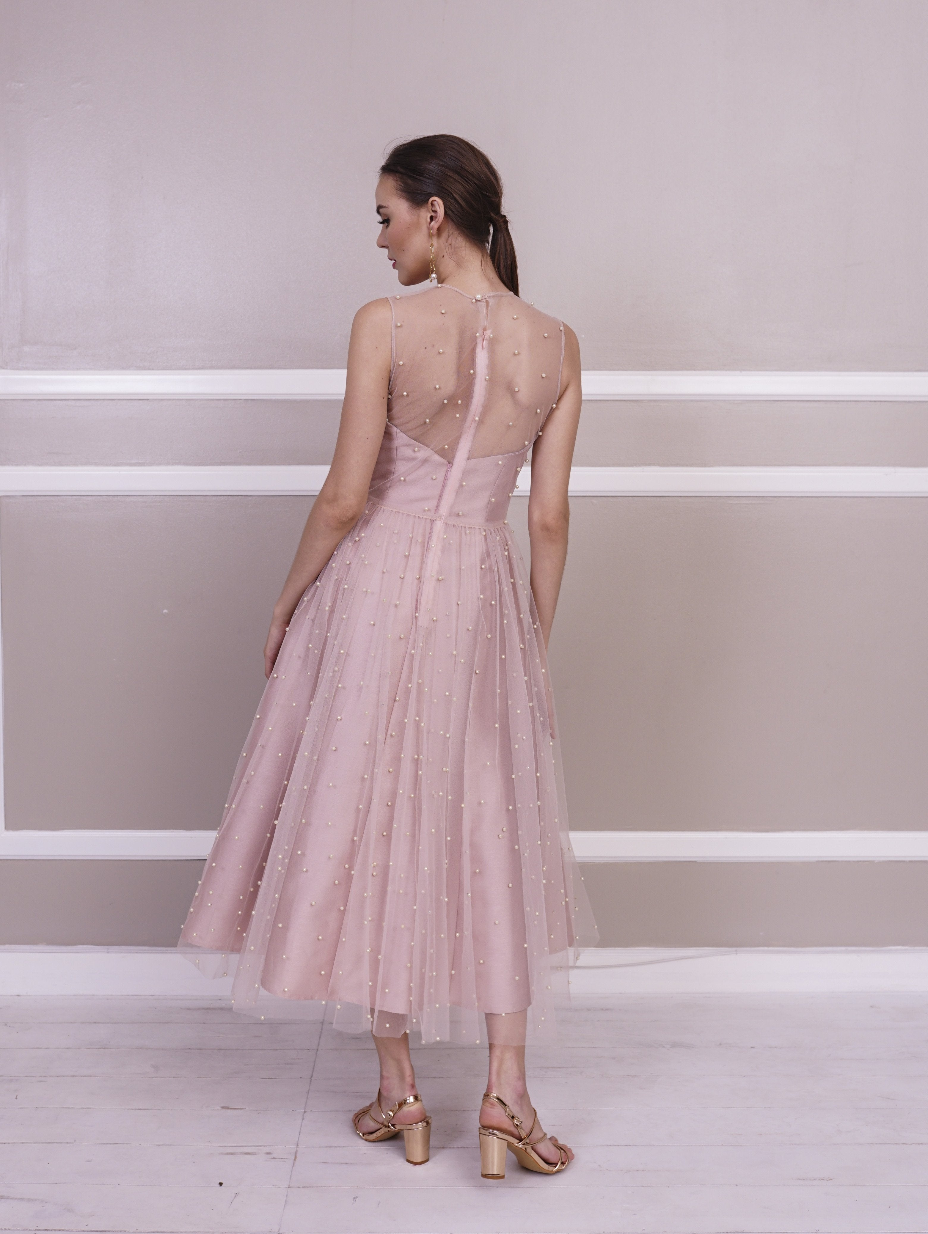 af2501615b8c ... Dress - Jill Lao Samantha Strapless Midi Dress With Pearl Tulle Overlay
