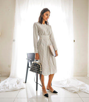 Kildare Long Sleeve Shirt Dress (Gray Stripe)