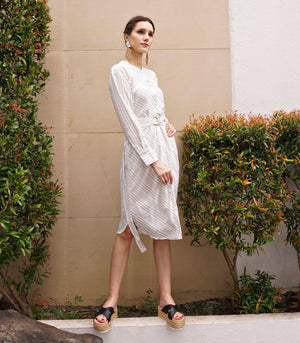 Dress - Kildare Long Sleeve Shirt Dress (Gray Stripe)