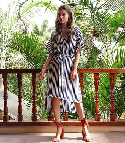 Dress - Kolonnawa Kimono Cut Out Dress (Stripes)