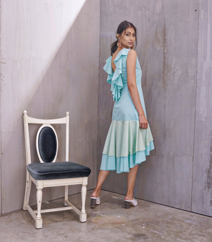 Dress - Lucala Flounce Mullet Dress With Ruffled Back (Seafoam)