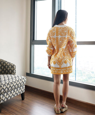 Lusine Embroidered Tunic (Mustard)