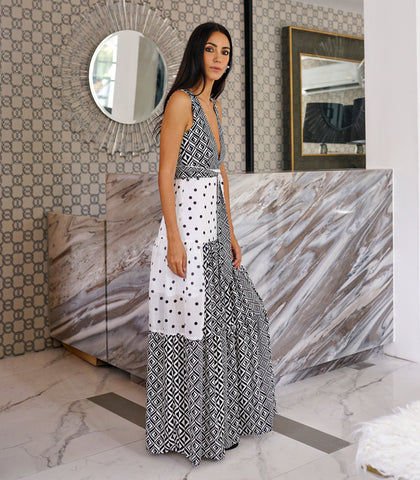 Dress - Marondera Deep V Maxi Dress (Polka And Geometric)
