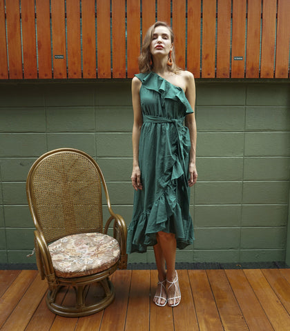 Dress - Mastov Linen Faux Wrap Dress (Kale)