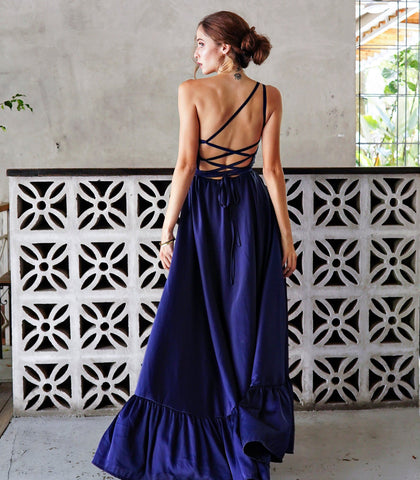 Dress - Mayaguez One Shoulder Asymmetrical Maxi Dress With Strappy Back