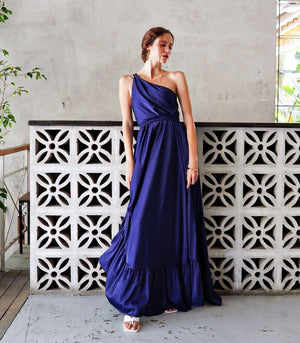 Mayaguez One Shoulder Asymmetrical Maxi Dress with Strappy Back