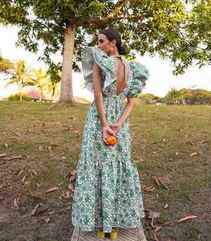 Molfetta Ruffled Maxi Dress - Green Floral