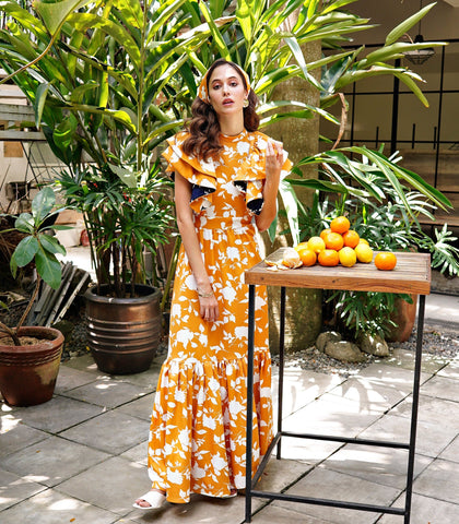 Dress - Molfetta Ruffled Maxi Dress - Marigold Floral