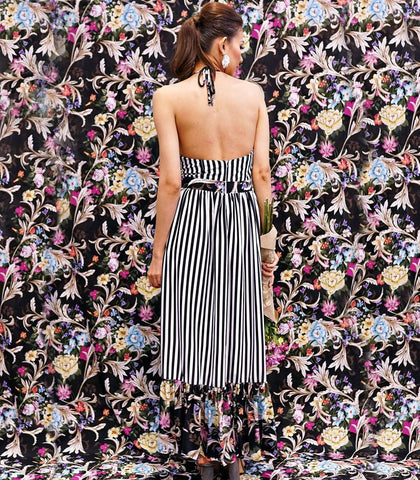 Dress - Mussuco Stripes And Florals Halter Maxi Dress